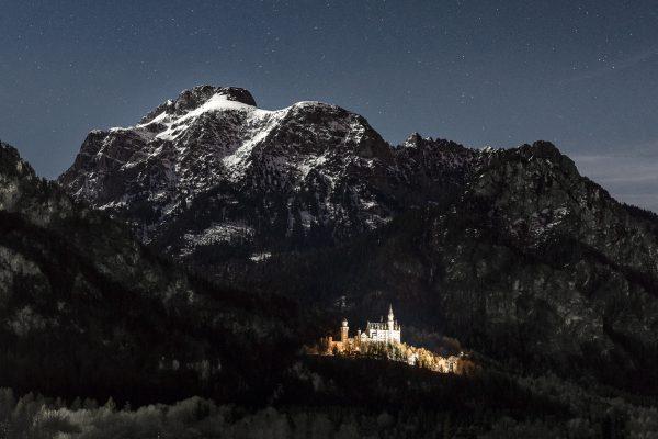 Nachtfotografie Schloss Neuschwanstein Vollmondnacht Säuling Ostallgäu Fotograf Kees van Surksum