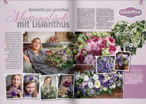Artikel in Gärtnerei Fachteitschrift Taspo mit der ARD Floristin Nadine Weckardt zum Thema floristische Dekoration zum Muttertag mit Lisianthus Fotograf Kees van Surksum Kaufbeuren, München und Allgäu